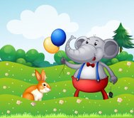 Rabbit and an elephant with balloons