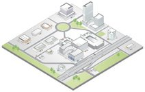 Isometric map of a suburban commercial district