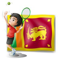 boy playing tennis in front of the Sri Lanka Flag