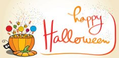 Happy Halloween card with candy-filled pumpkin