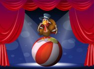 Turkey performing on stage with a ball