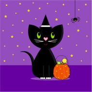 Halloween Cat with Trick or Treat Basket
