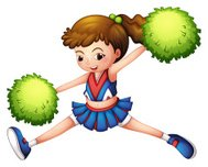 cheerdancer with  green ponytail and pompoms