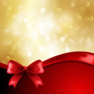Holiday background with silk red bow
