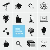Science Education and Technology Vector Icons Set