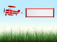 biplane with grassy landscape
