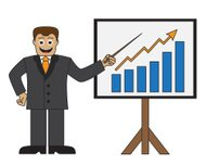 Cartoon businessman doing a presentation