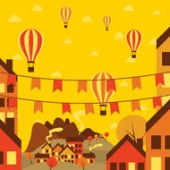 Autumn small town with air balloons