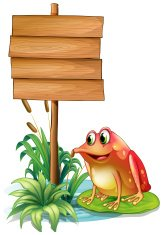 frog above waterlily beside a wooden signboard