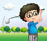 boy with glasses playing golf