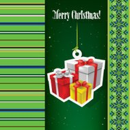 Abstract celebration background with Christmas gifts and ethno o