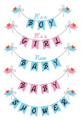 baby shower with bunting flags and birds, vector