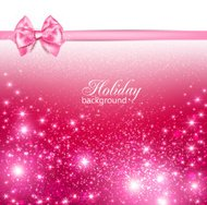 Pink holiday background with ribbon