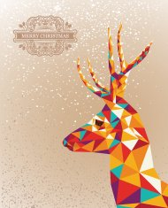 Merry Christmas colorful abstract reindeer