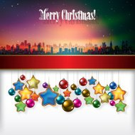 celebration background with Christmas decorations and silhouette