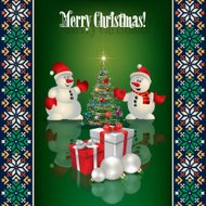 Abstract celebration background with snowmen and Christmas gifts
