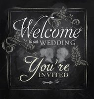 Lettering Welcome to our wedding chalk