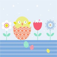 Easter Chick in Egg with Flowers