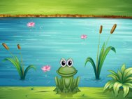 river and a frog