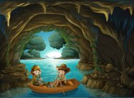 cave with two kids riding in a wooden boat