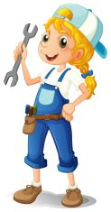 girl holding a tool