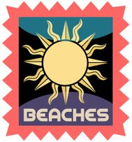 beaches luggage label or travel sticker