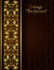 Vintage background with gold filigree border and seamless patter