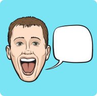 laughing young man with speech bubble