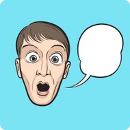 surprised young man face with speech bubble