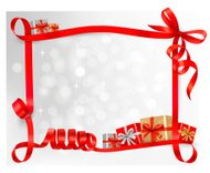 Holiday background with red gift bow. Vector