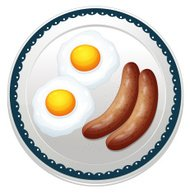 Egg omelet and sausages