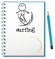 Notebook with sketch of man surfing