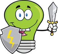 Green Light Bulb With Shield And Sword