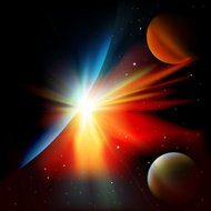abstract space background with planets and stars