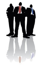 Towering Businessmen in Black Reflection Series
