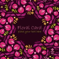 Floral  greeting card with violet flowers on dark background