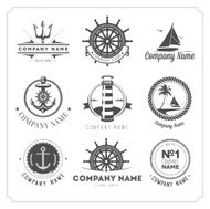 Nine black vintage nautical icons on white