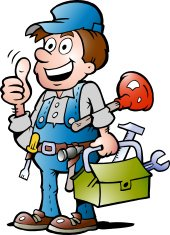 Illustration of an happy Plumber Handyman