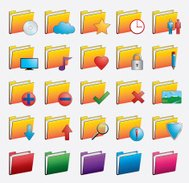 Folder web icons set