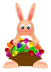 Happy Easter Bunny Rabbit  with Colorful Tulips Basket Illustrat