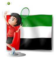 Tired athlete player in front of the UAE flag