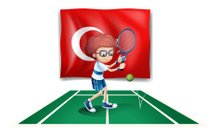 Boy playing tennis in front of the flag Turkey