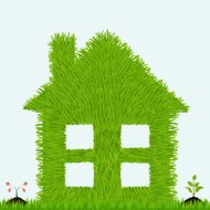 Grassy house with plants.