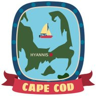 Cape Cod travel sticker or luggage label