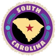 South Carolina state travel sticker or luggage label