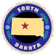 South Dakota travel sticker or luggage label