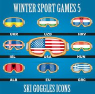 Icon goggles with flag of world