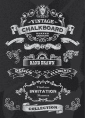 Vector of vintage chalkboard banners and ribbons