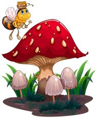 Bee with a honey flying near the red mushroom