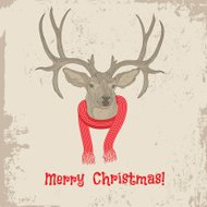 Deer vintage Christmas card vector animal illustration